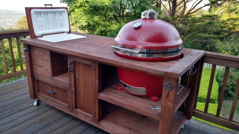 Grill & Chill Table for Big Green Egg, Kamado &… | Rustic Woodworx ...