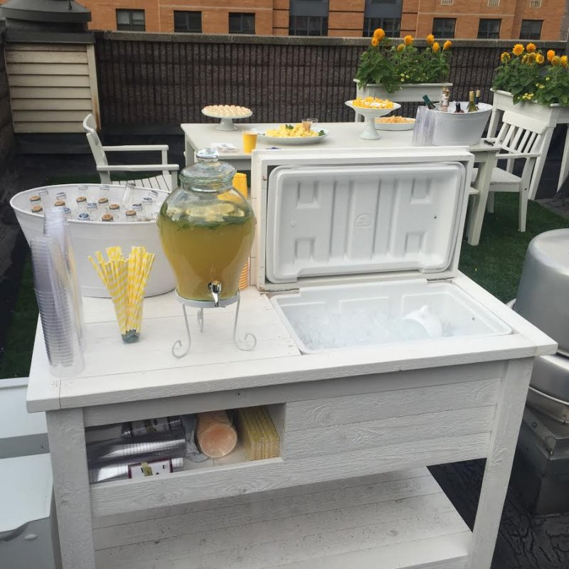 Cooler Bar Cart Console Table Outdoor Mini Bar