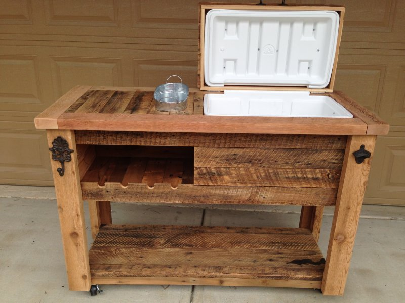 Reclaimed cooler bar cabinet reclaimed rustic woodworx usa handmade storage - How to make rustic wood furniture ...