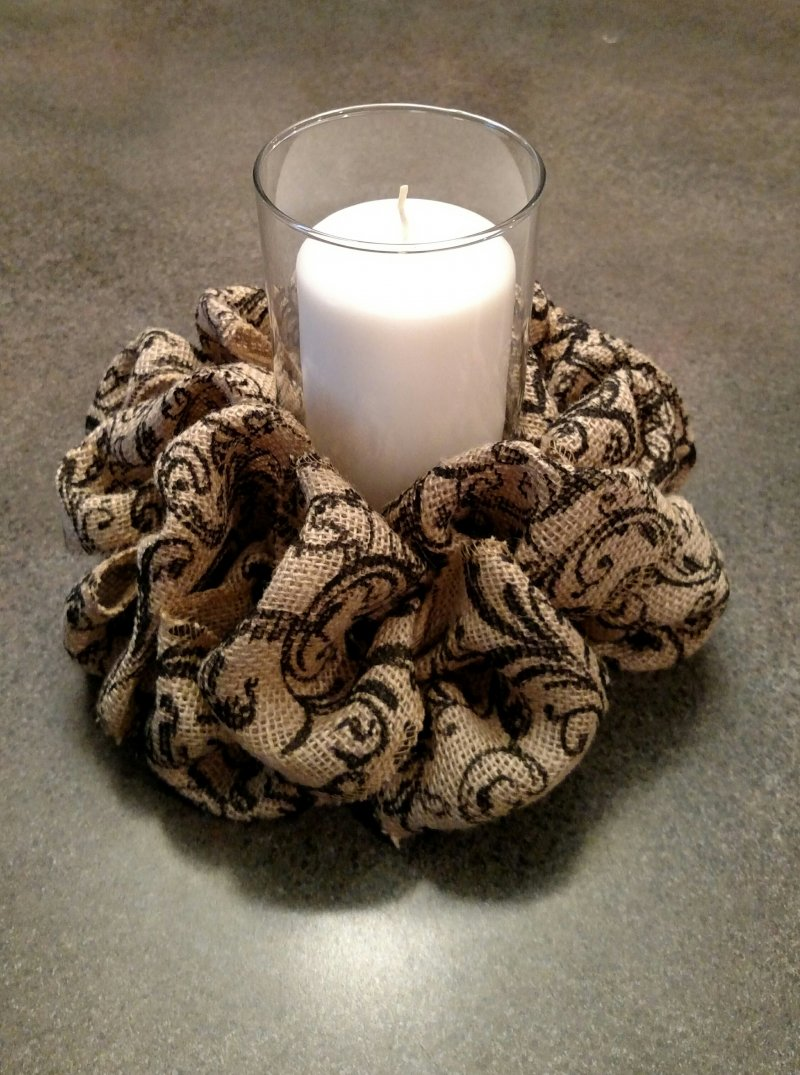 Burlap scroll candle centerpiece maggies creations