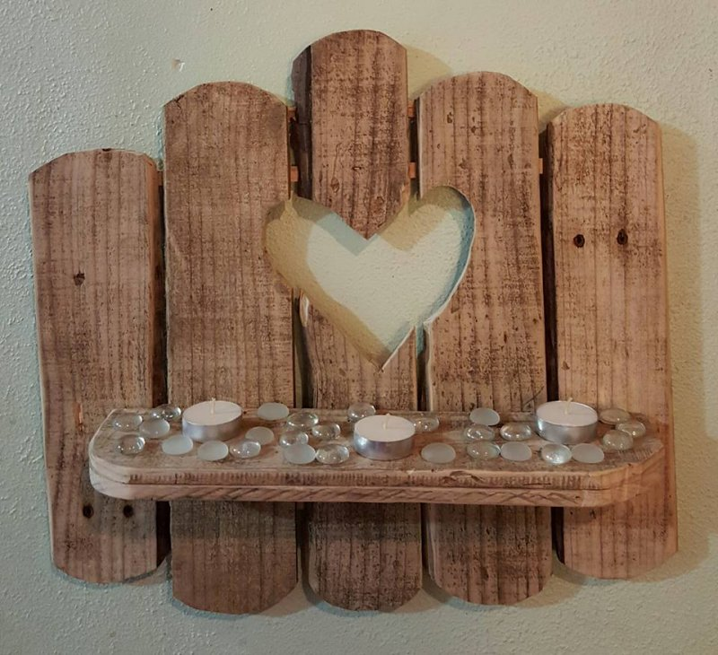 Handmade Rustic Wall Decor : Rustic wooden shelf with heart creations by larose