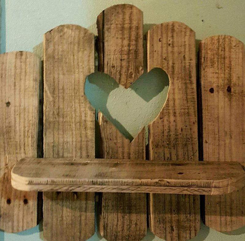 Rustic Wooden Shelf With Heart Creations By Larose