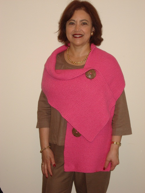 Hand knitted Egyptian Cotton 3 button shawl Shawls By Hoda, Supplies-Equipm...