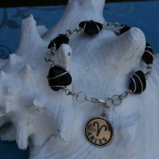 Handmade charm bracelet (black with Aries charm)
