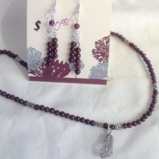 Clear Lake Diamonds and Garnet Necklace/Earrings Set