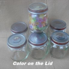 4 oz.Baby Glass Jars Set of 30 -With Red Color on the Lids