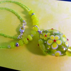 70s Flower Power & Love in this Lampwork Necklace