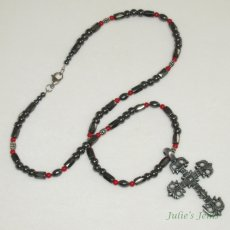 "23"" Magnetized Hematite Coral Pewter Crucifix Necklace"