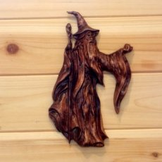 Wizard Wood Carving - Halloween/Goth Decor.