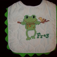 White Cotton Baby Bib Little Explorer Frog