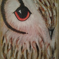 Wise Owl Hand Painted 12x16 Burlap Panel