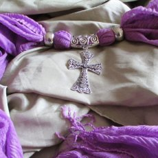 purple scarf with filigree crystal adorned cross