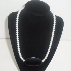 Black White Faux Pearl Statement Necklace