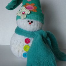 Snowman Doll, Dressed, Teal with Flowers Girl