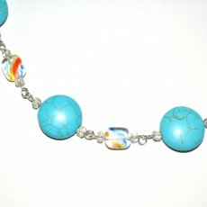 "Turquoise Gemstone and Rainbow Crystal Necklace 23"" Long"