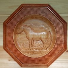 Octagon Horse Wood Carving Wall Hanging