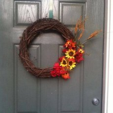 A Sunflower and Burlap Fall Wreath