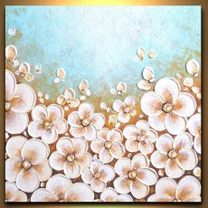 White cherry blossoms flowers blue landscape painting, abstract impasto floral art unique bride gift