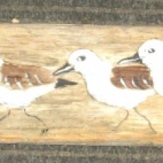 Brown Shorebird Painting on Driftwood by Susan Thau