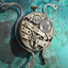 The Space Ant! Sterling & Argentium Silver Necklace with a Vintage Watch Movement