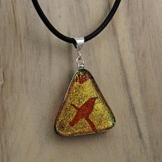 Bird Necklace in Orange and yellow dichroic Glass