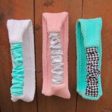 handmade set of 3 cotton terry cloth spa stretch headband. pink, white and tiffany blue terry cloth