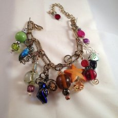 Dichroic and beads charm bracelet