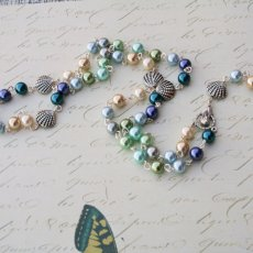 Multi colored glass pearl ocean inspired rosary