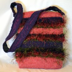 Knit purse, Salmon and Purple, Handmade