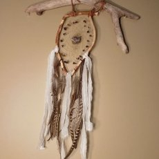 Large driftwood dream catcher with natural feather, genuine amethyst crystal and tigers eye gemstone chips