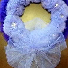 Handmade Purple Tulle Flower Wreath With Rhinestones and Feathers