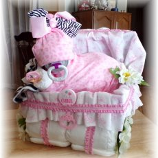 Baby Shower Diaper Baby Cake & Stroller Girl or Boy