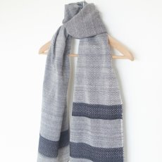 Handwoven Cashmere Cotton Scarf in Navy and Cream White