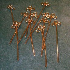 Handcrafted Clover Gold Tone Head Pins - 20 gauge - 4 inch