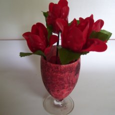 3 Handmade Red roses with glass Vase.