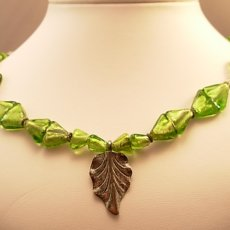Green Glass Necklace with a silver leaf