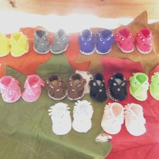 """""""Cherokee Feet"""" Handmade One-Of-A-Kind Baby Moccasins and Accessories"""