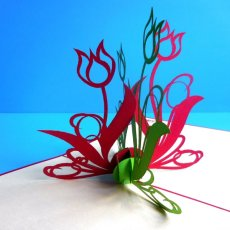 Handmade Popup 3D Green Red Flowers Greeting Card
