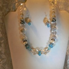 gorgeous crystal and czech glass necklace and earring set