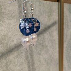 Paper earrings with silver filigree butterfly