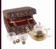 Glass Tea Pot Set with Flowering Tea (Blue)