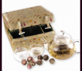 Glass Tea Pot Set with Flowering Tea (Gold)