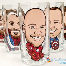 Personalized Superhero Gift Mugs, Caricature Portraits Gift For Boyfriend or Birthday Gift Ideas