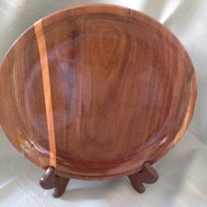 Black Walnut Platter with Maple Inlay and a Turquoise chip