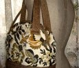 Carpet Bag Dual Upholstery Golden Dove Floral Frame Bag