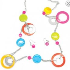 Paparrazzi Bright Marble and Metal Rings Necklace and Earring Set