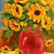 Golden sunflowers oil painting