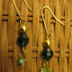 Springtime green crystal dangle earrings