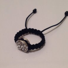 White Silver Crystal Shamballa Ring