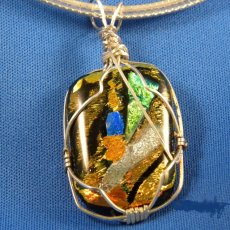 Dichoic Glass with sterling silver wire wrap